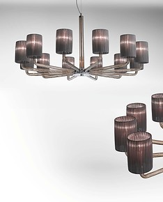 Chandelier with lampshades color smoke