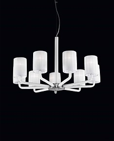 Chandelier with lampshades in milk white