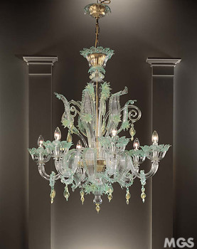 Chandelier in gold color and green details