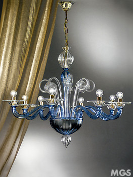 Crystal chandelier blue details at three lights