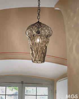 Crystal smoked venetian lantern with rough steel finishes