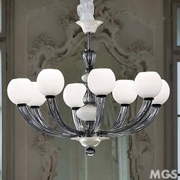 White and Blue Space Age chandelier