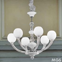 White and Crystal Space Age chandelier