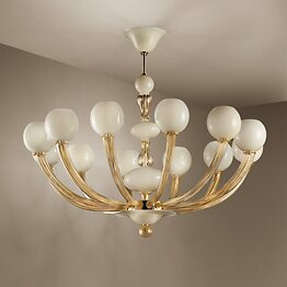 Ivory and 24k Gold Space Age chandelier