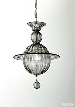 Suspended lamp in smoked crystal