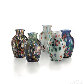Colored vase with silver and murrine