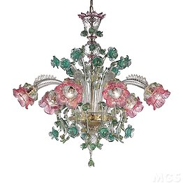 Crystal chandelier with gold, pink and green decorations