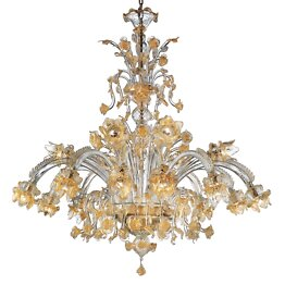 Crystal and gold chandelier with cimiere