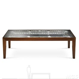 Rosewood table and transparent glass top with inside