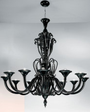 Black chandelier at twelve lights