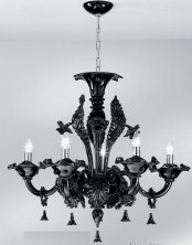 Black chandelier at six lights