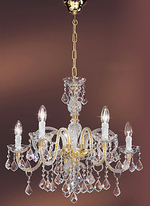 Crystal chandelier at five lights
