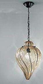Suspended lamp in submerged amber glass with matte black metal part