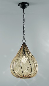 Suspended lamp in submerged amber glass