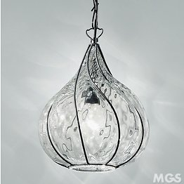 Crystal Suspension caged in a steel structure finished in matt black color