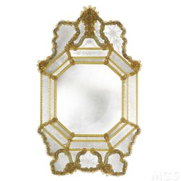 Venetian style mirror decorations in amber colour