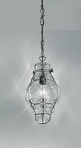 Crystal venetian lantern with rough steel finishes