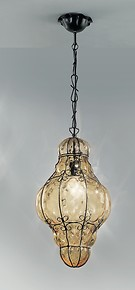 Crystal lantern in amethyst color with rough steel finishes